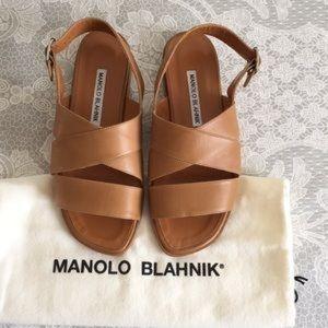 Manolo Blahnik brown leather sandals New!